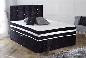 *14-DAY MONEY BACK GUARANTEE* FREE HEADBOARD! Devon Crushed Velvet Luxury Memory Bed and Mattress