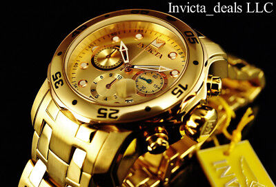 Invicta Men's 48mm PRO DIVER Scuba Chronograph Champagne Dial 18K Gold IP Watch