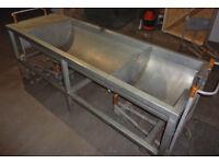 Industrial double half barrel sink in stainless steel