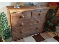 Large Victorian solid pitch pine chest of drawers reclaimed top