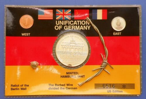 1989 UNIFICATION OF GERMANY COIN SET..1 OZ. .999 SILVER MEDALLION & (2) PFENNIGS