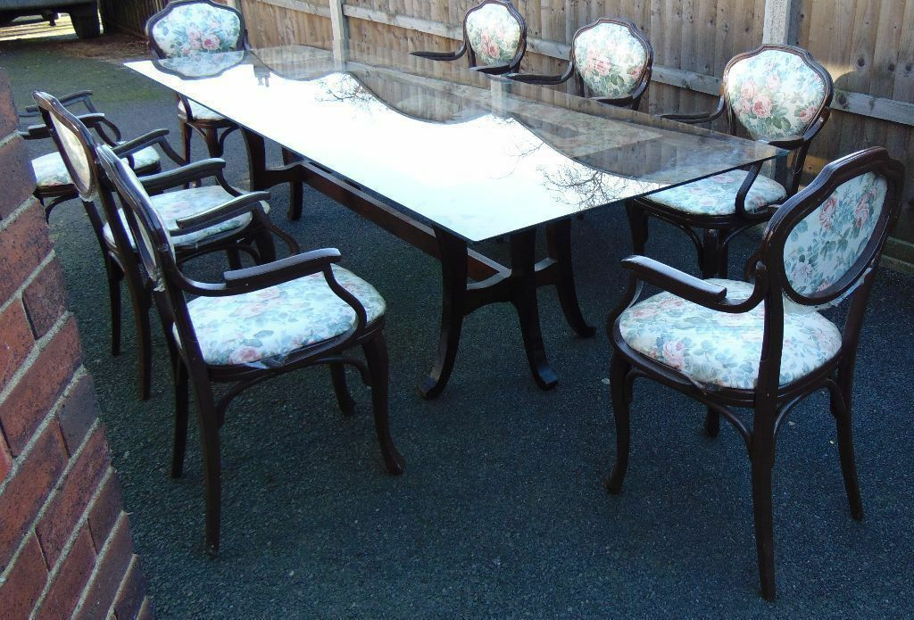 retro vintage shabby chic glass top dining table and eight matching bent wood chairsin Roundhay, West YorkshireGumtree - retro vintage shabby chic glass top dining table and eight matching bent wood chairs extra large glass top dining table on vintage mahogany frame and I do mean extra large 275 centimetres long and glass comes in one impressive piece eight matching...