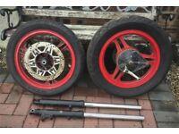 Kawasaki GPZ500 - Front & Rear Wheels + Forks