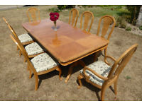 Dining table, chairs and side board in light oak veneer