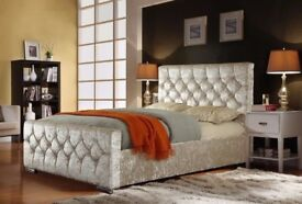 Double King Size Bed Frame | Black Gold Silver Crushed Velvet & Grey Fabric