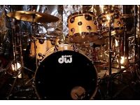 DW COLLECTORS DRUM KIT. £1,675 ono. Natural high figured maple. 22x18 bd, 10x8, 12x9, 14x11 toms