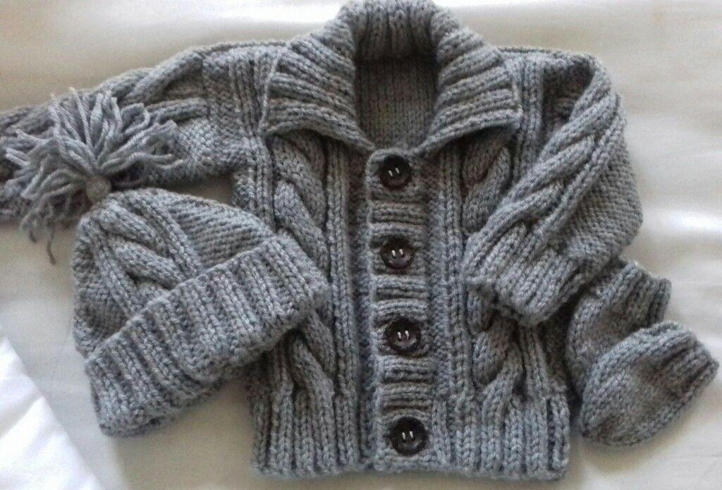 e5a330b8d brand new hand knitted baby aran cardigan set