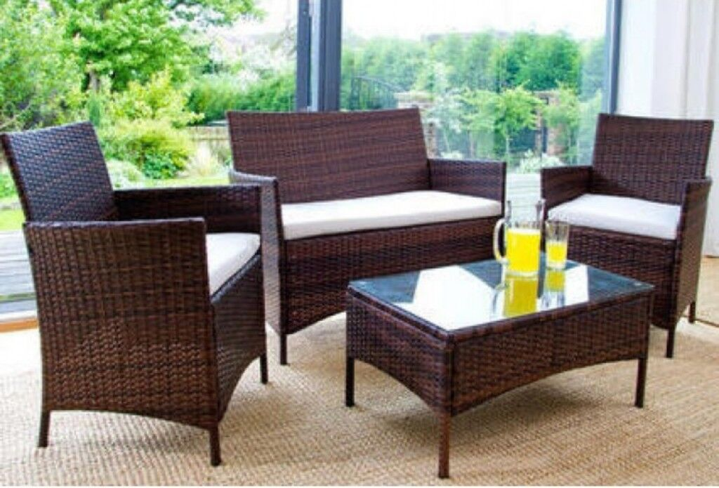 Two Seater Rattan Garden Furniture Brown rattan garden furniture cushioned two seater and two single brown rattan garden furniture cushioned two seater and two single chairs with glass topped table workwithnaturefo