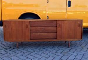 Danish Mid Century Modern Teak Sideboard Buffet TV Media Console REFINISHED