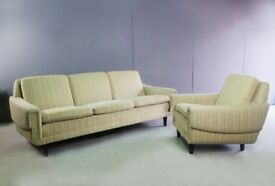 1970's Danish 3 seat sofa and matching armchair with original fabric