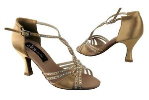 VERY FINE CD2801 TAN SATIN LADIES' DANCE SHOES - SIZE 9.5