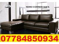 PRE XMAS DELIVERY - NEYRO LEATHER CORNER SOFA BLACK OR BROWN 977410
