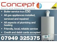 Concept Boiler and Heating Solutions. All gas, central heating and plumbing work carried out
