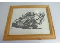Framed pencil sketch print in biking memorabilia size 430mmx360mm
