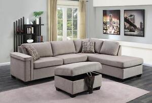 LORD SELKIRK FURNITURE - THORNHILL SECTIONAL WITH STORAGE OTTOMAN - $1099.00