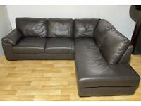 Delivery Available - Next Genuine Leather Corner Sofa