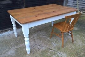 Vintage Pine Farmhouse Kitchen Country Dining Table *FREE DELIVERY* Pantry White Shabby Chic (oak)