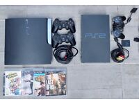 Playstation 3 Slim 120GB and Playstation 2 with games + controllers + cables