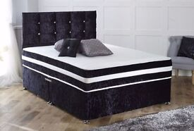 *7-DAY MONEY BACK GUARANTEE* FREE HEADBOARD! Devon Crushed Velvet Luxury Memory Bed- QUICK DELIVERY!