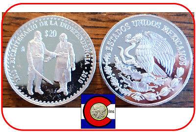 1810-2010 Hidalgo & Morelos 20 Peso Mexico 2 oz Silver Mexican Coin - in airtite