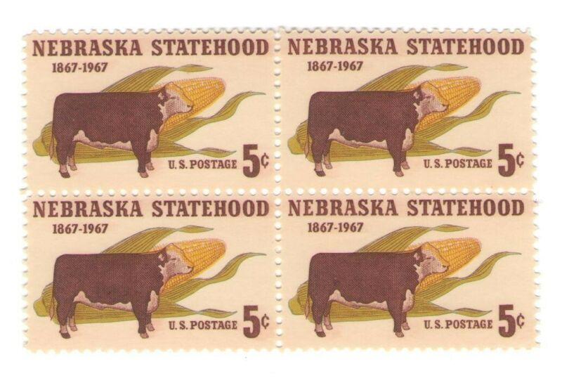 Nebraska 54 Year Old Mint Vintage US Postage Stamp Block from 1967