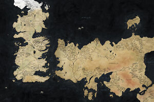 Game Of Thrones Houses Map Westeros TV Show Fabric Poster 36