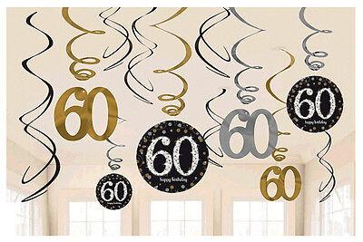 60th Birthday Swirl Decorations ~ Sparkling Celebration Party Supplies Sixtieth - 60th Birthday Decor
