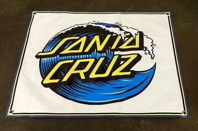 - Santa Cruz skateboard surfing poster deck board banner sign blue wave cap  B201