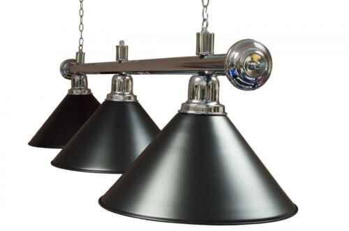 Pool Snooker Table 3 Lights Rail Black with Metal Black Shades. Twin Chains