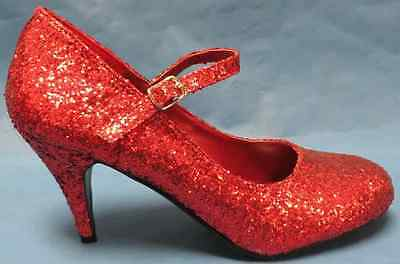 Glinda Shoes Red Glitter Ruby Slippers Fancy Dress Halloween Costume Accessory (Ruby Slippers Costume)