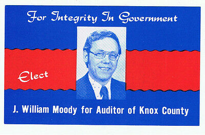 Old 1970s J William Moody Knox County Auditor Ohio Political Campaign Brochure