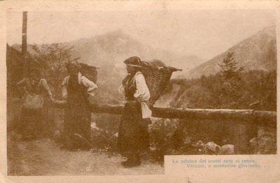 Antichi mestieri; trasporto con le gerle in montagna