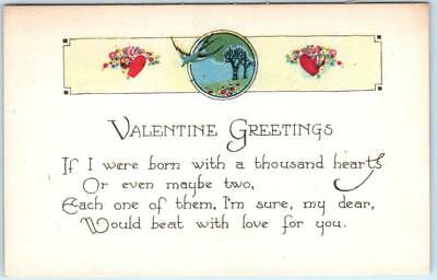 Arts and Crafts   VALENTINE GREETINGS  Thousand Hearts Verse  c1910s   Postcard