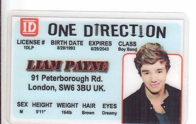 fun Liam Payne ONE DIRECTION novelty plastic collectors card Drivers License