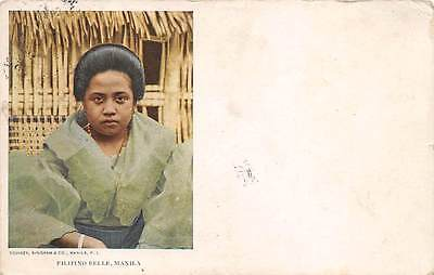 PHILIPPINE ISLANDS, FILIPINO WOMAN IN FANCY GREEN DRESS, BINGHAM PUB used 1908