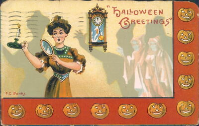 1909 Halloween Postcard, Greetings E.C.Banks Woman Frightened By Scary Ghosts](Scary Halloween C)