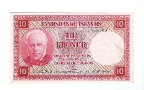 Iceland - 1948-56, Ten (10) Kronur