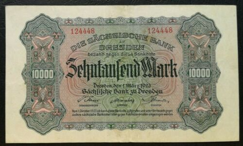 GERMANY 10000 Mark Banknote Dresden 1923