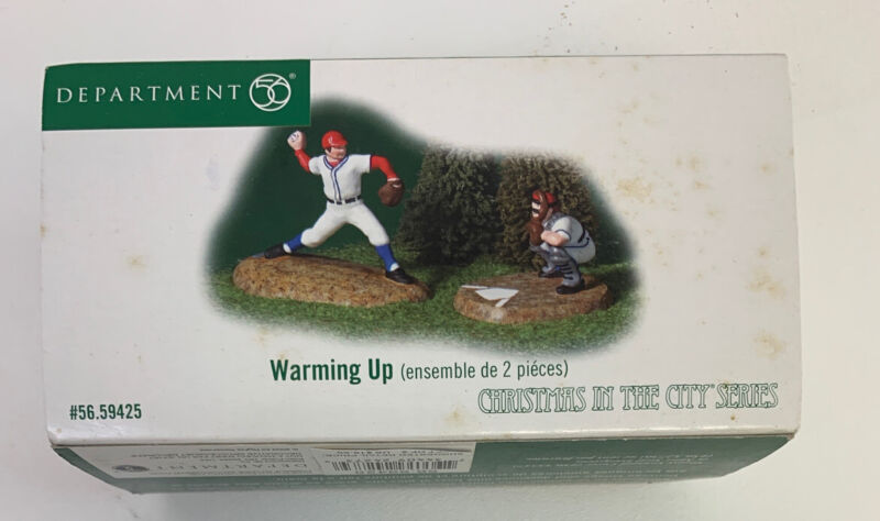 """NEW DEPARTMENT 56 CHRISTMAS IN THE CITY """"WARMING UP"""" BASEBALL 2 FIGURES 56.59425"""