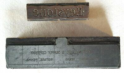 2 Keystone Pipe-antique Printing Press Blocks-wood Metal Copper-advertising