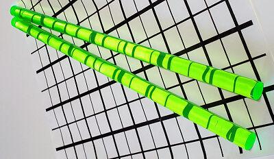 2 Pcs 12 X 12 Clear Green Fluorescent Acrylic Plexiglass Rod .5 Inch Diameter