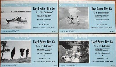 Tacoma, WA 1947 Advertising Blotters SET OF FOUR - Lloyd Suiter Tire -