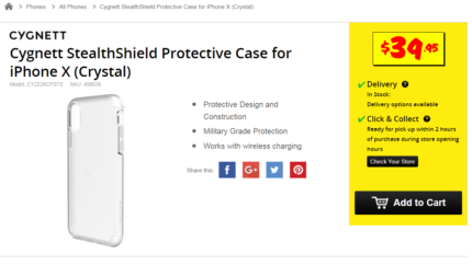 Cygnett StealthShield Protective Case for iPhone X (Crystal)