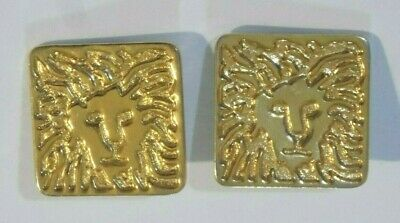 """Anne Klein 1 1/16"""" Gold-Tone Square Lion Head Clip-On Earrings"""