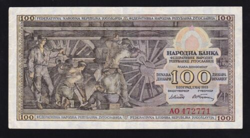 YUGOSLAVIA --- 100 DINARA  1953 ------ VF ----- R