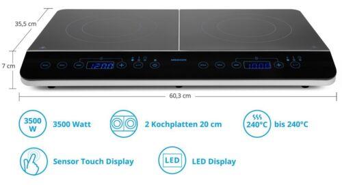 MEDION MD 15324 Doppel Induktionskochplatte 3500 Watt je 20cm Durchmesser LED