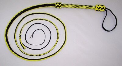 8 Foot 16 Plait Black/Yellow NYLON Well-weighted  SHOT LOADED Real Bullwhip whip
