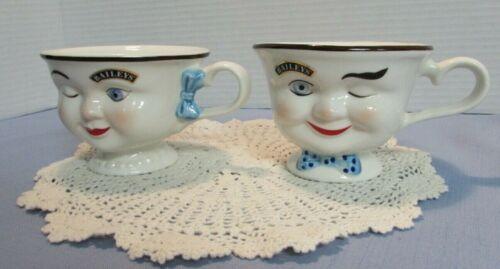 Baileys Irish Cream YUM Cups Winking Eye Face Mr & Mrs Coffee Mugs Tea Cups