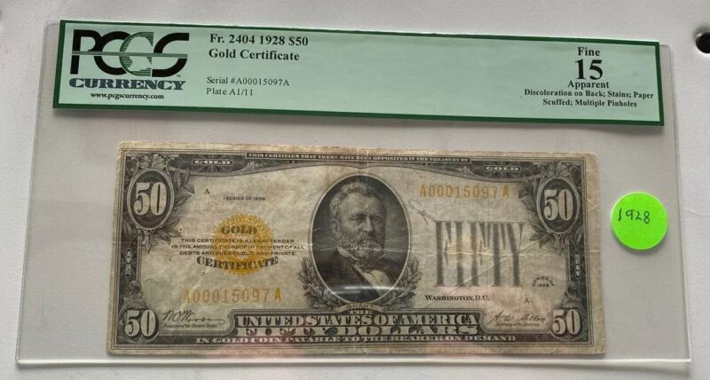 1928 $50 Bill Gold Certificate Note Currency PCGS VF 15 Fr# 2404