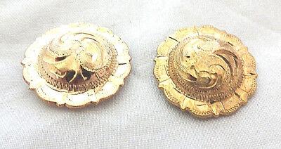 """Pair Engraved Brass El Paso Pico Conchos Bridle Loops 1 1//2/"""" Hansen Western Gear"""